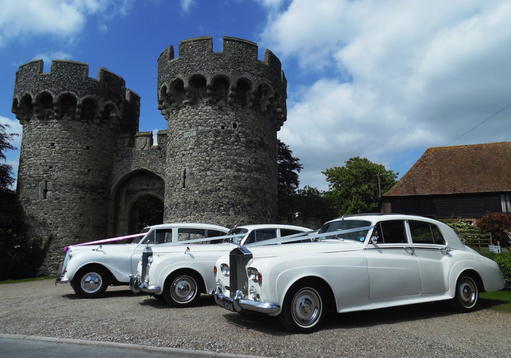 3 Wedding cars at Cooling Castle Barn